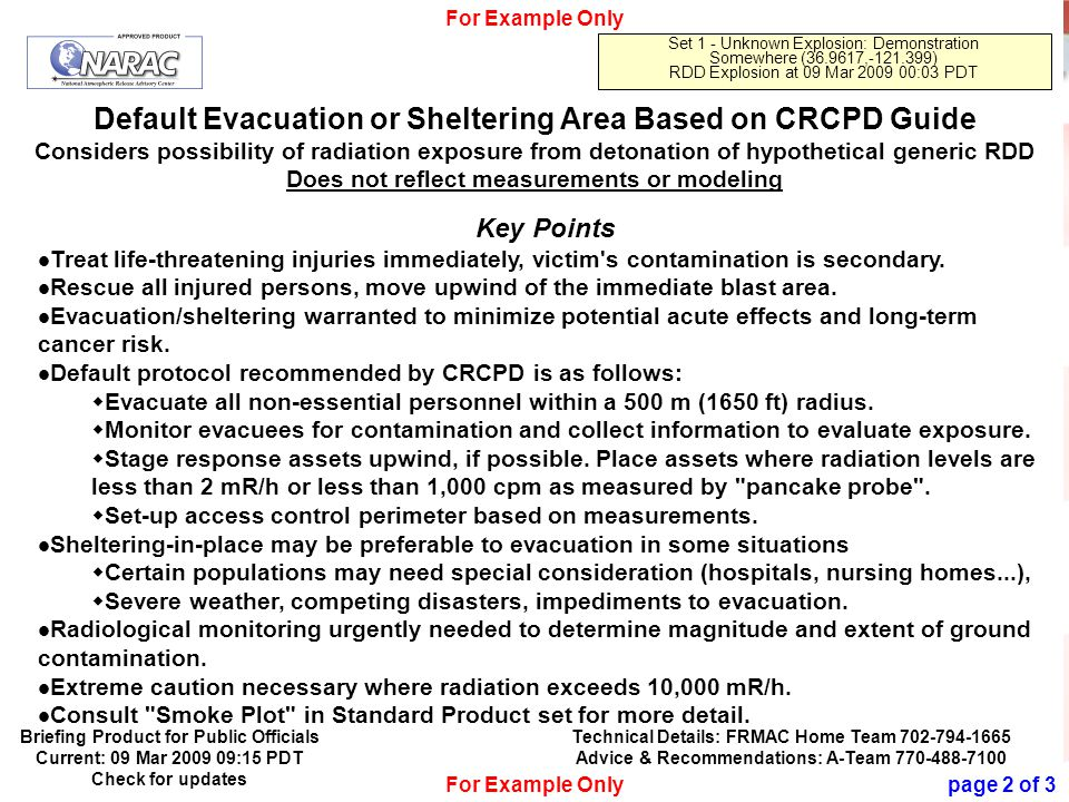 Official Use Only 20 Default Evacuation or Sheltering Area Based on CRCPD Guide Considers possibility of radiation exposure from detonation of hypothetical generic RDD Does not reflect measurements or modeling For Example Only Set 1 - Unknown Explosion: Demonstration Somewhere (36.9617,-121.399) RDD Explosion at 09 Mar 2009 00:03 PDT Key Points Treat life-threatening injuries immediately, victim s contamination is secondary.