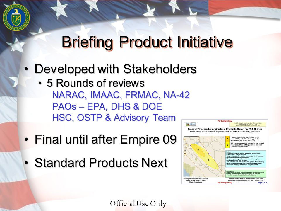Official Use Only 3 Briefing Product Initiative Developed with StakeholdersDeveloped with Stakeholders 5 Rounds of reviews5 Rounds of reviews NARAC, IMAAC, FRMAC, NA-42 PAOs – EPA, DHS & DOE HSC, OSTP & Advisory Team Final until after Empire 09Final until after Empire 09 Standard Products NextStandard Products Next