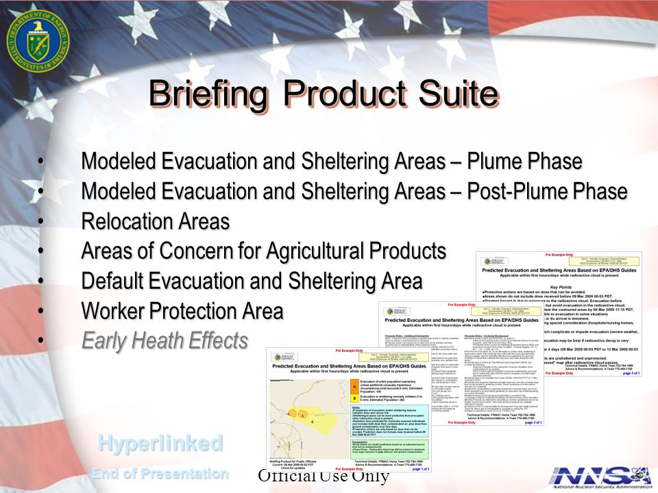 Official Use Only 5 Modeled Evacuation and Sheltering Areas – Plume PhaseModeled Evacuation and Sheltering Areas – Plume Phase Modeled Evacuation and Sheltering Areas – Post-Plume PhaseModeled Evacuation and Sheltering Areas – Post-Plume Phase Relocation AreasRelocation Areas Areas of Concern for Agricultural ProductsAreas of Concern for Agricultural Products Default Evacuation and Sheltering AreaDefault Evacuation and Sheltering Area Worker Protection AreaWorker Protection Area Early Heath Effects Early Heath Effects Briefing Product Suite Hyperlinked End of Presentation