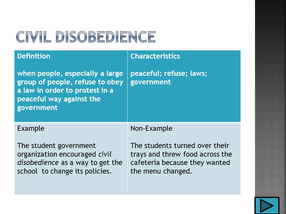 Definition when people, especially a large group of people, refuse to obey a law in order to protest in a peaceful way against the government Characteristics peaceful; refuse; laws; government Example The student government organization encouraged civil disobedience as a way to get the school to change its policies.