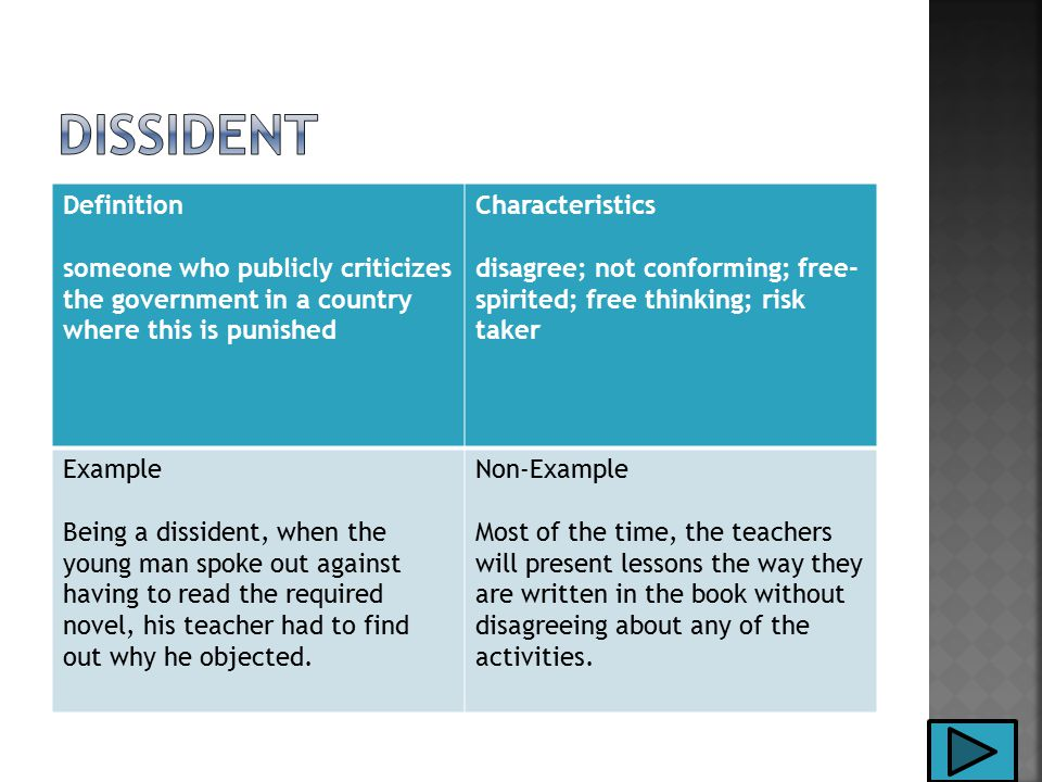 Definition someone who publicly criticizes the government in a country where this is punished Characteristics disagree; not conforming; free- spirited; free thinking; risk taker Example Being a dissident, when the young man spoke out against having to read the required novel, his teacher had to find out why he objected.