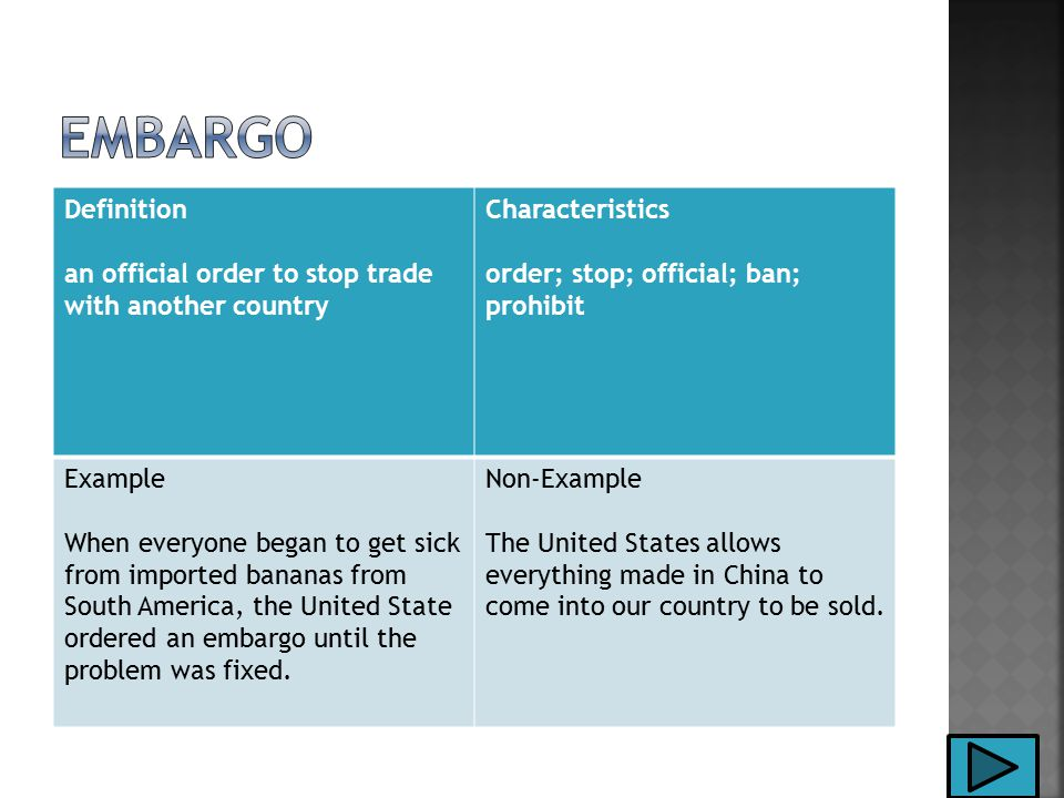 Definition an official order to stop trade with another country Characteristics order; stop; official; ban; prohibit Example When everyone began to get sick from imported bananas from South America, the United State ordered an embargo until the problem was fixed.