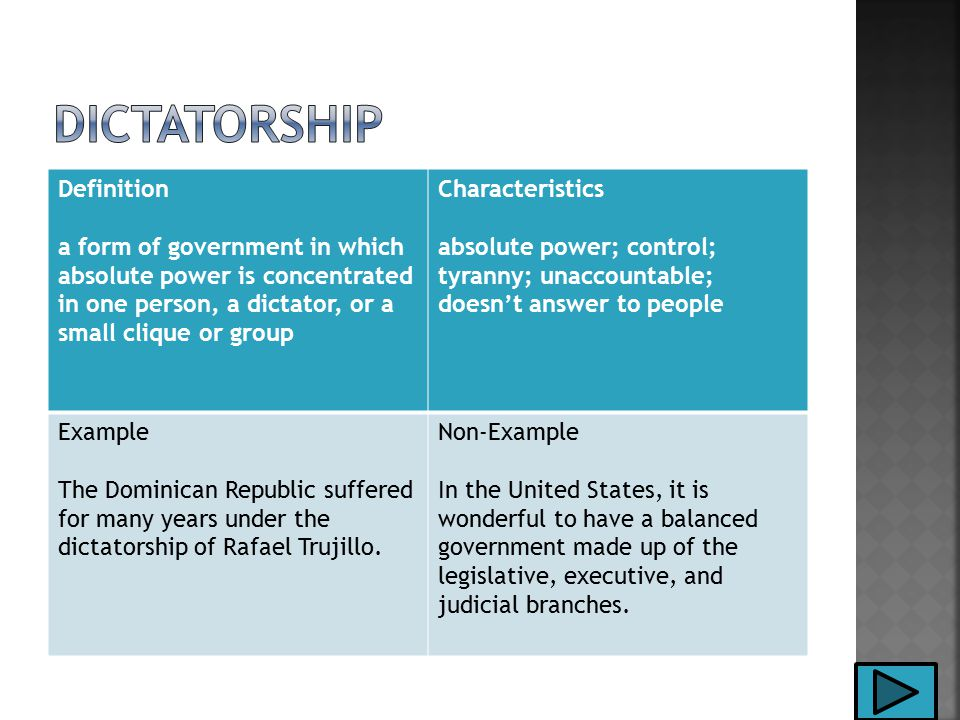 Definition a form of government in which absolute power is concentrated in one person, a dictator, or a small clique or group Characteristics absolute power; control; tyranny; unaccountable; doesn't answer to people Example The Dominican Republic suffered for many years under the dictatorship of Rafael Trujillo.