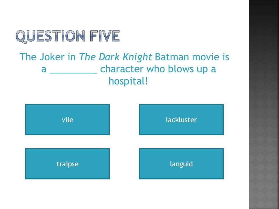 The Joker in The Dark Knight Batman movie is a _________ character who blows up a hospital.