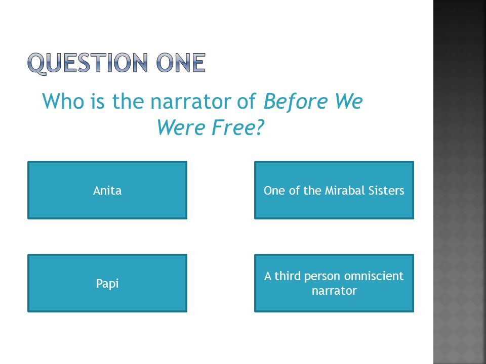 Who is the narrator of Before We Were Free.