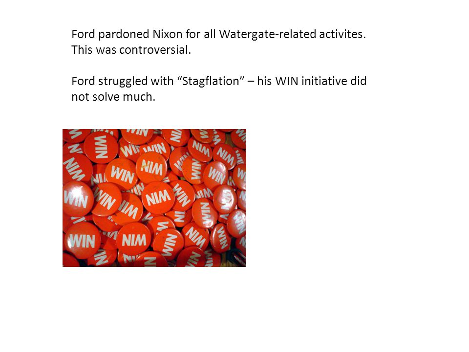 Ford pardoned Nixon for all Watergate-related activites.