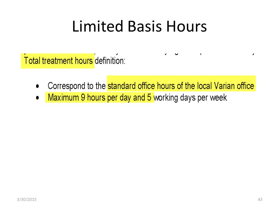 Limited Basis Hours 3/30/201543