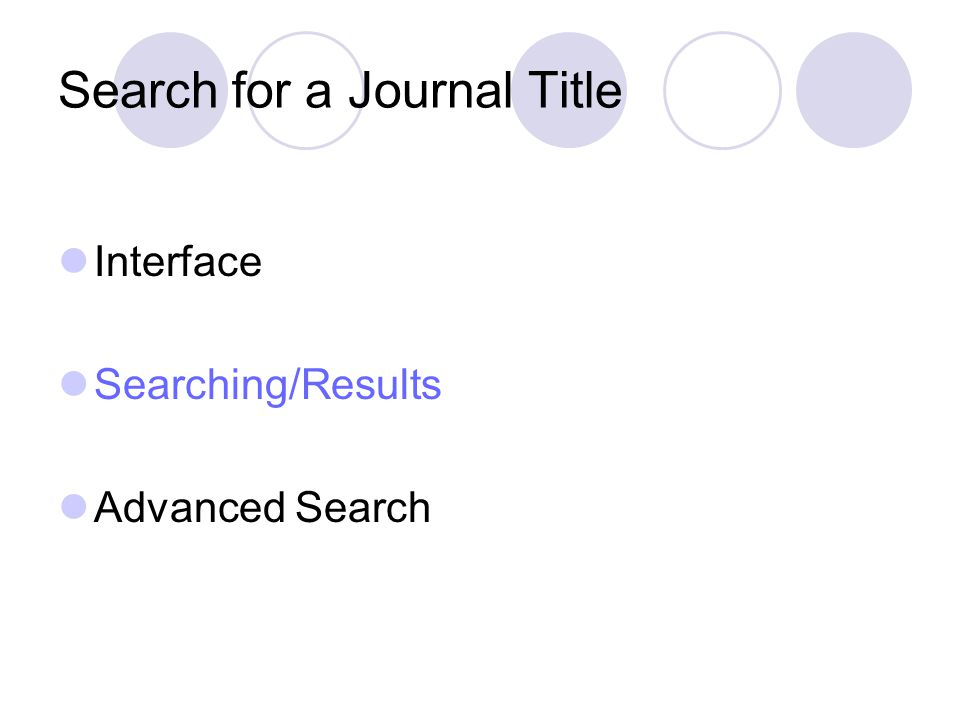 Search for a Journal Title Interface Searching/Results Advanced Search