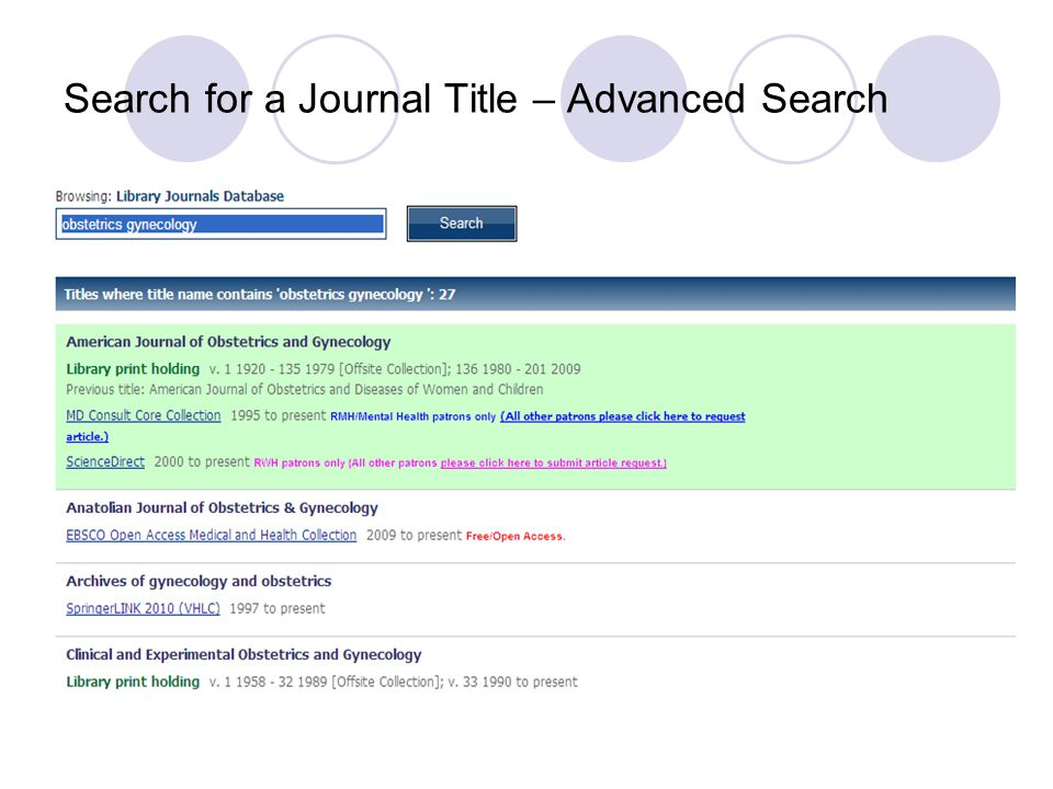 Search for a Journal Title – Advanced Search This search will retrieve any journals with the words obstetrics and gynecology in the title