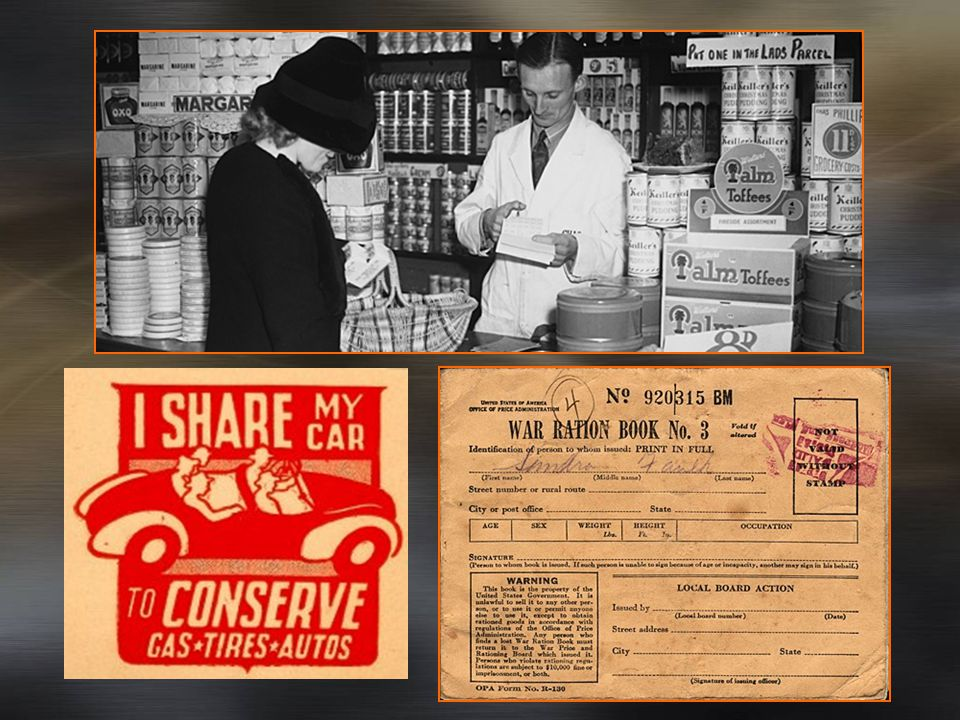 Government Control -Inflation controlled by price freezes (Office of Price Administration) -many products rationed to conserve resources (only specific amounts could be distributed for certain products like sugar, tin, rubber, etc.) -income taxes increased - Victory gardens grew -War Bonds sold