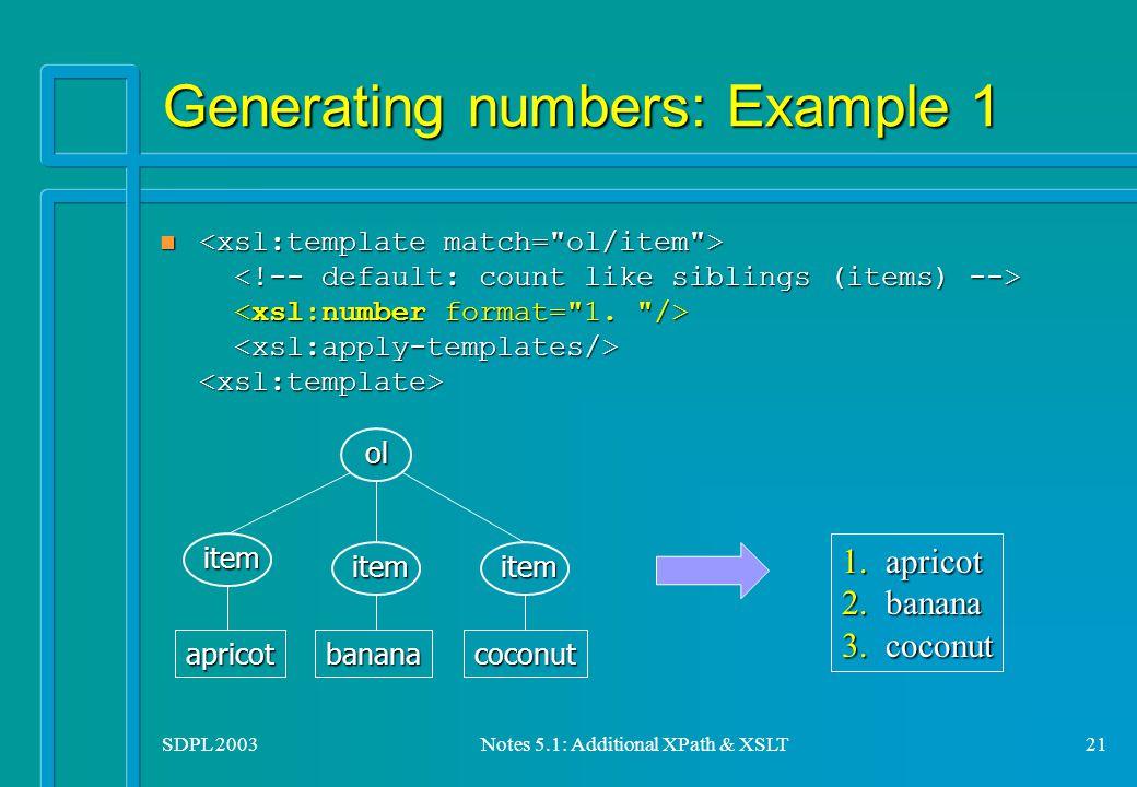 SDPL 2003Notes 5.1: Additional XPath & XSLT21 Generating numbers: Example 1 n n item itemitemolapricotbananacoconut 1.2.3.