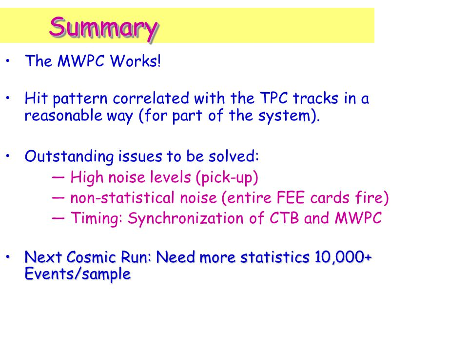 SummarySummary The MWPC Works.