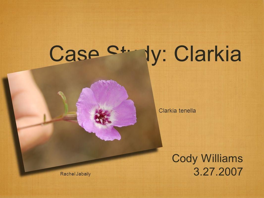 Case Study: Clarkia Cody Williams 3.27.2007 Rachel Jabaily Clarkia tenella