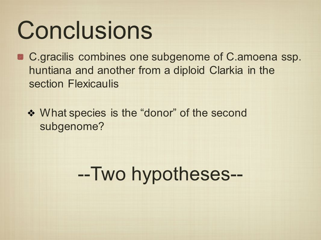 Conclusions C.gracilis combines one subgenome of C.amoena ssp.