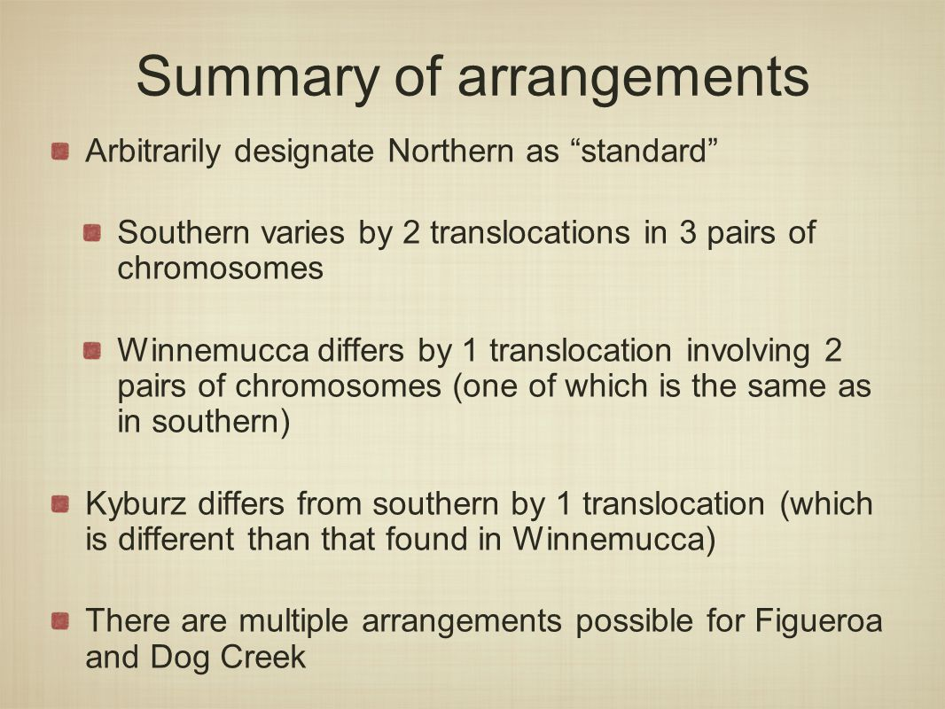 Summary of arrangements Arbitrarily designate Northern as standard Southern varies by 2 translocations in 3 pairs of chromosomes Winnemucca differs by 1 translocation involving 2 pairs of chromosomes (one of which is the same as in southern) Kyburz differs from southern by 1 translocation (which is different than that found in Winnemucca) There are multiple arrangements possible for Figueroa and Dog Creek