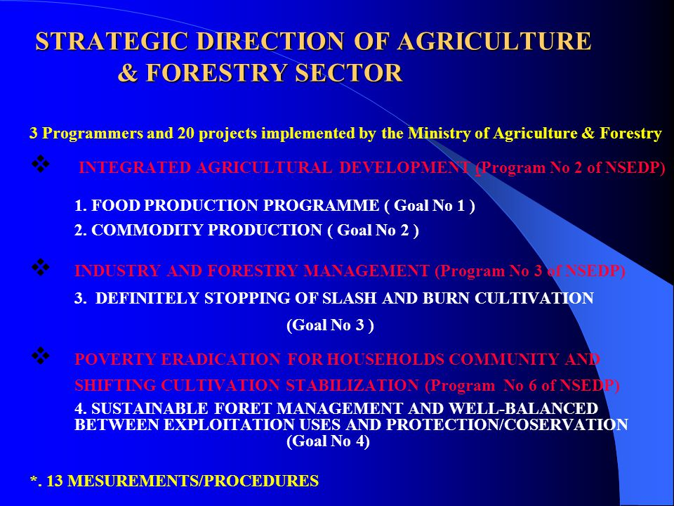 STRATEGIC DIRECTION OF AGRICULTURE & FORESTRY SECTOR 3 Programmers and 20 projects implemented by the Ministry of Agriculture & Forestry  INTEGRATED AGRICULTURAL DEVELOPMENT (Program No 2 of NSEDP) 1.