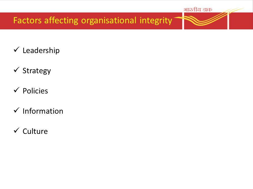 Factors affecting organisational integrity Leadership Strategy Policies Information Culture