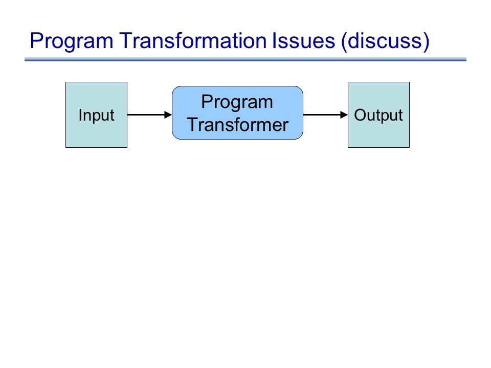 Program Transformation Issues (discuss) Program Transformer InputOutput