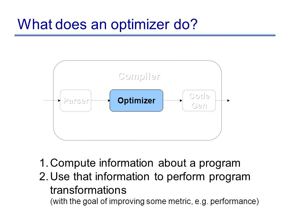 What does an optimizer do? 1.Compute information about a program 2.Use that information to perform program transformations (with the goal of improving