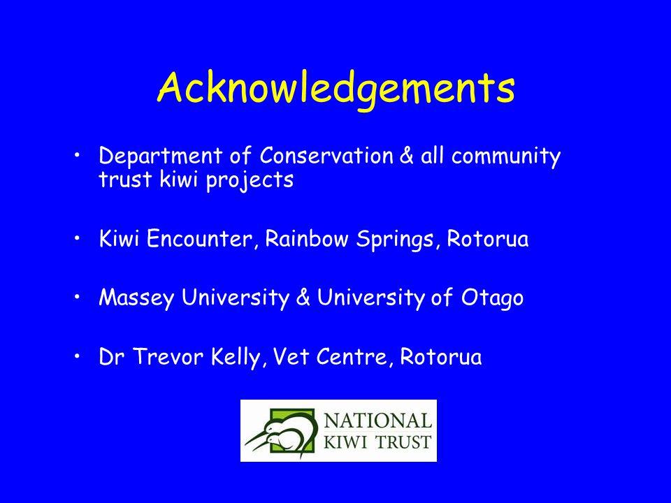 Acknowledgements Department of Conservation & all community trust kiwi projects Kiwi Encounter, Rainbow Springs, Rotorua Massey University & University of Otago Dr Trevor Kelly, Vet Centre, Rotorua