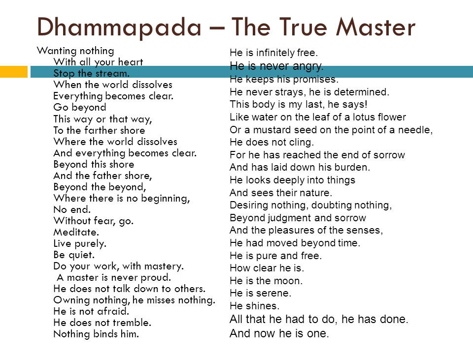 Dhammapada – The True Master Wanting nothing With all your heart Stop the stream.