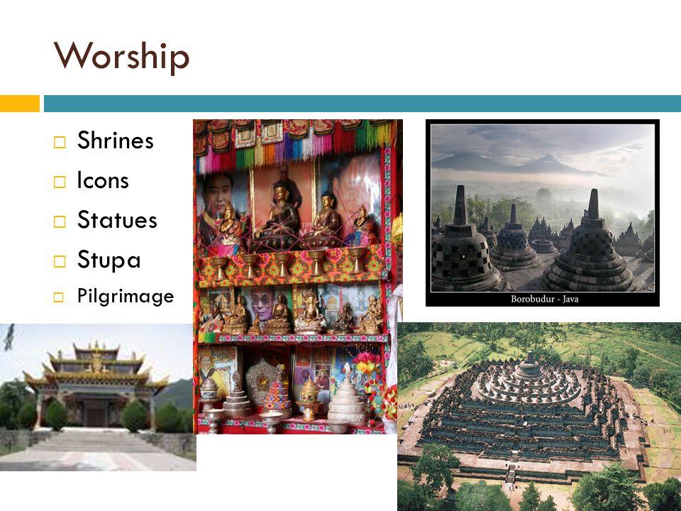 Worship  Shrines  Icons  Statues  Stupa  Pilgrimage