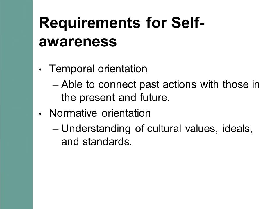 Requirements for Self- awareness Temporal orientation –Able to connect past actions with those in the present and future. Normative orientation –Under