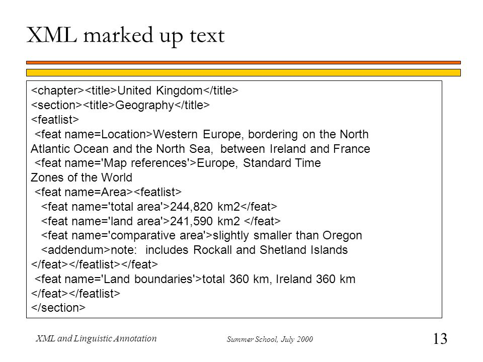 13 Summer School, July 2000 XML and Linguistic Annotation XML marked up text United Kingdom Geography Western Europe, bordering on the North Atlantic Ocean and the North Sea, between Ireland and France Europe, Standard Time Zones of the World 244,820 km2 241,590 km2 slightly smaller than Oregon note: includes Rockall and Shetland Islands total 360 km, Ireland 360 km