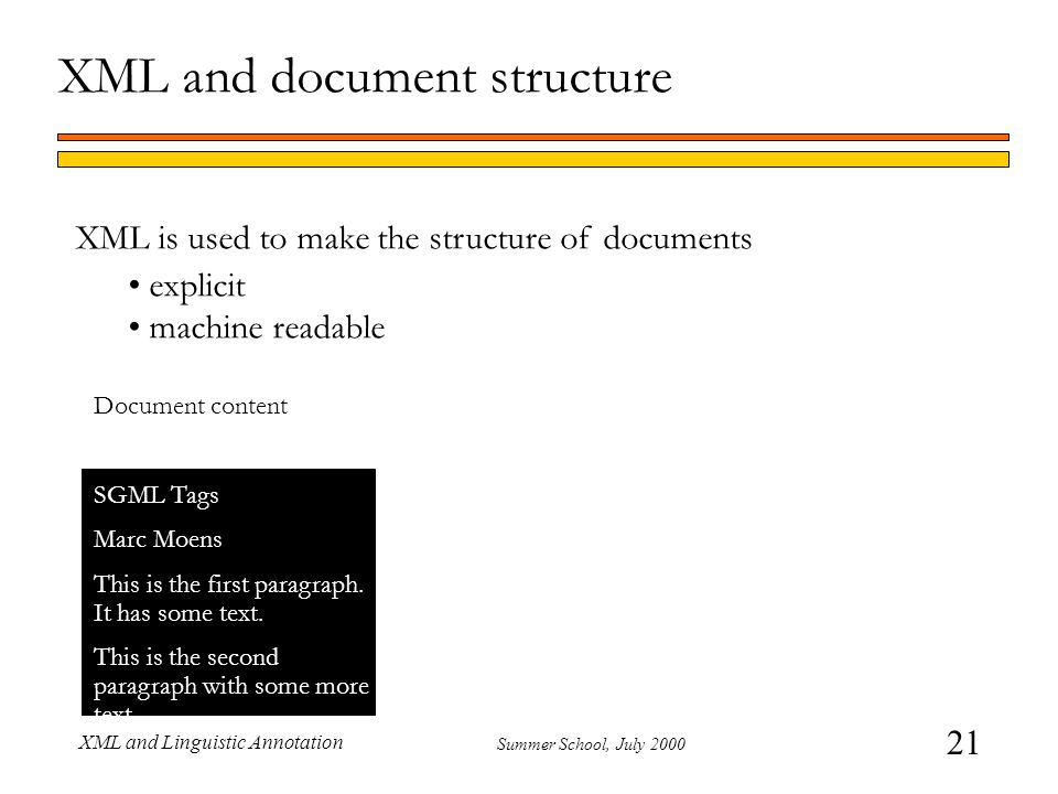 21 Summer School, July 2000 XML and Linguistic Annotation XML and document structure XML is used to make the structure of documents explicit machine r