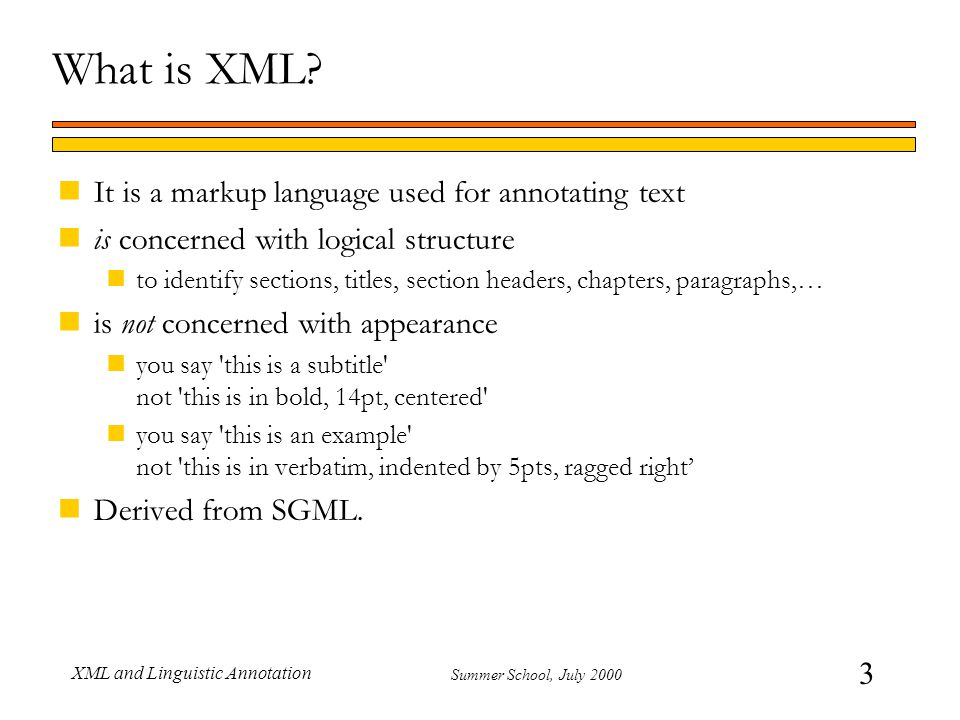 64 Summer School, July 2000 XML and Linguistic Annotation || LT XML query language nTwo-dimensional regular expressions nFirst dimension is over tree paths Based on file path analogy: DIV/PARA/W matches Ws inside PARAs inside (toplevel) DIVs nSecond dimension is regular expressions over text content of leaf nodes Select Ss containing Ws whose text is it s or its -q S -s ./W -t ^(it s|its)$ Full UTZOO (Henry Spencer) regular expression support nInfluential, slightly dated now.