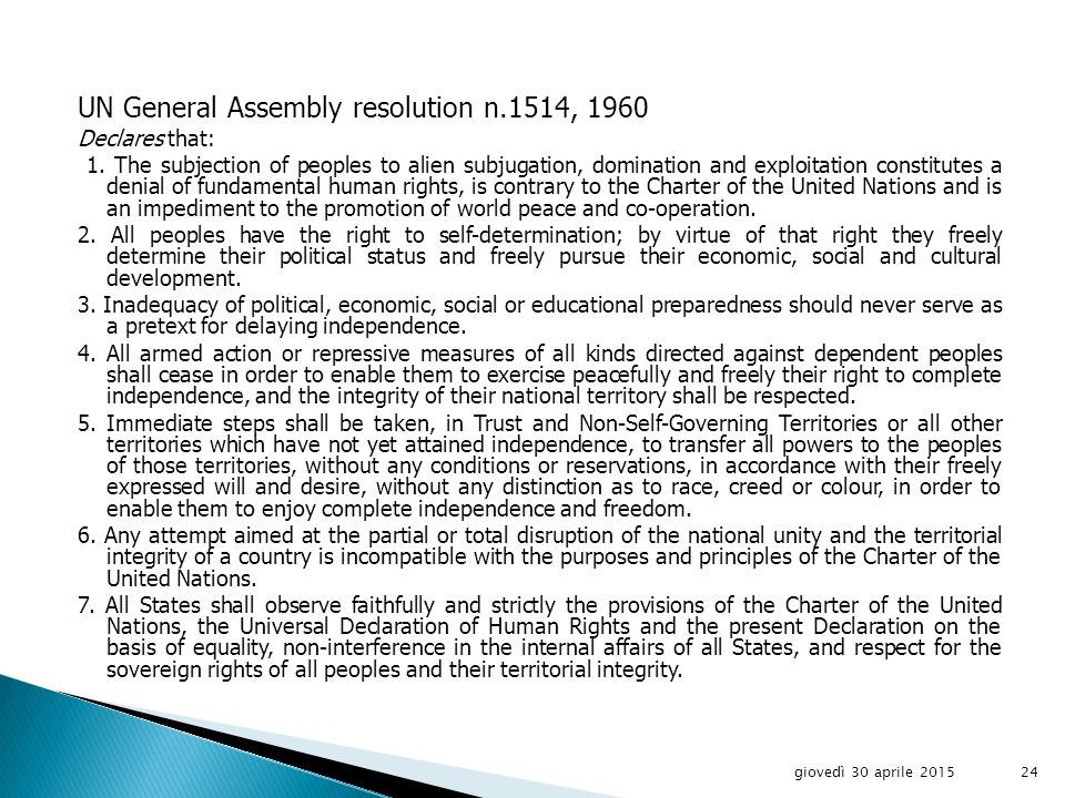Article 73 - Members of the United Nations which have or assume responsibilities for the administration of territories whose peoples have not yet attained a full measure of self-government recognize the principle that the interests of the inhabitants of these territories are paramount, and accept as a sacred trust the obligation to promote to the utmost, within the system of international peace and security established by the present Charter, the well- being of the inhabitants of these territories, and, to this end: a.