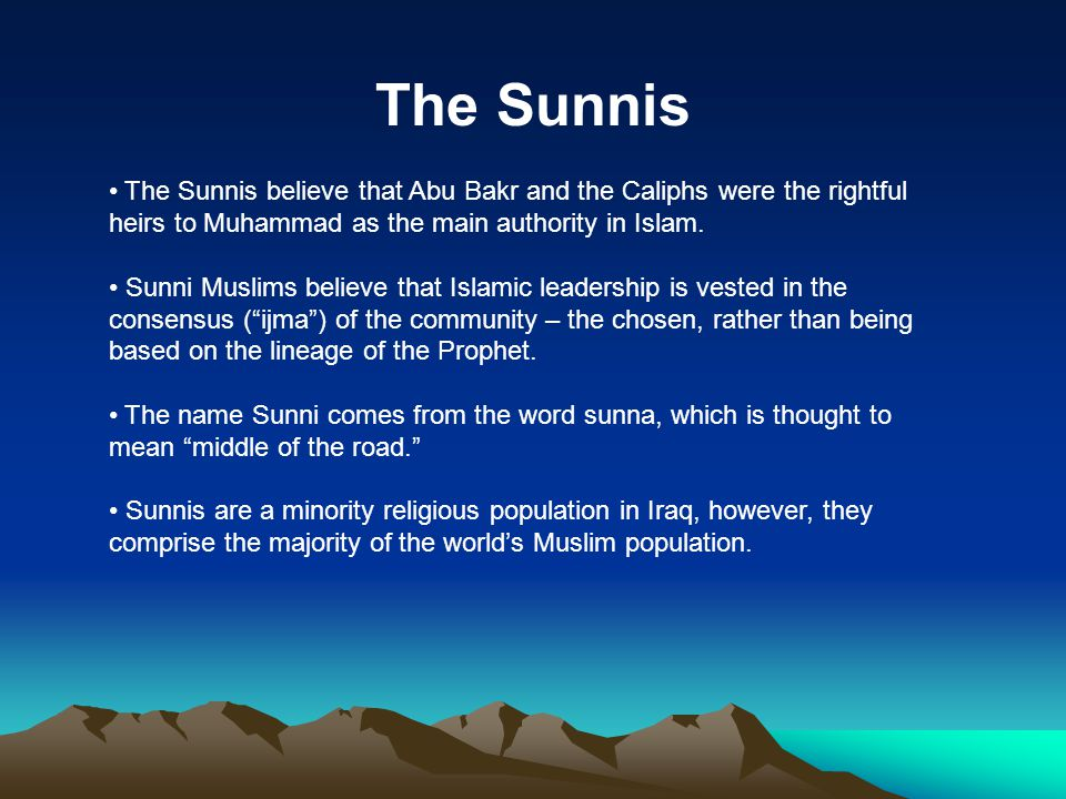 The Sunnis The Sunnis believe that Abu Bakr and the Caliphs were the rightful heirs to Muhammad as the main authority in Islam.