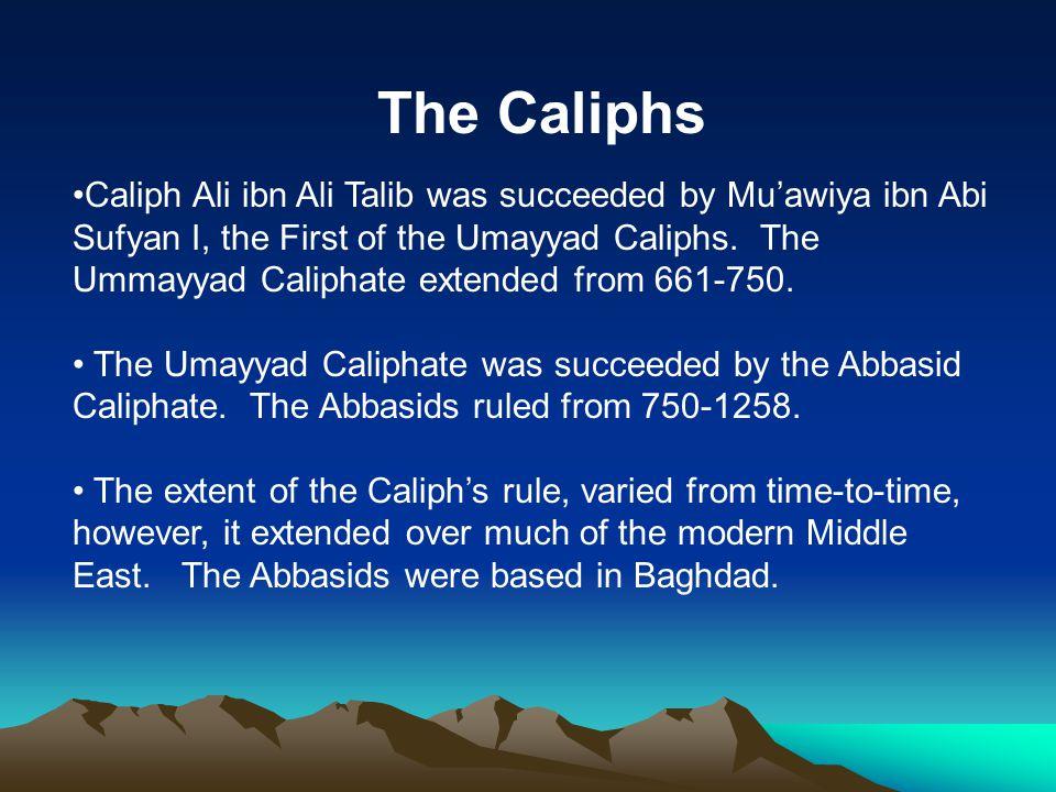 The Caliphs Caliph Ali ibn Ali Talib was succeeded by Mu'awiya ibn Abi Sufyan I, the First of the Umayyad Caliphs.
