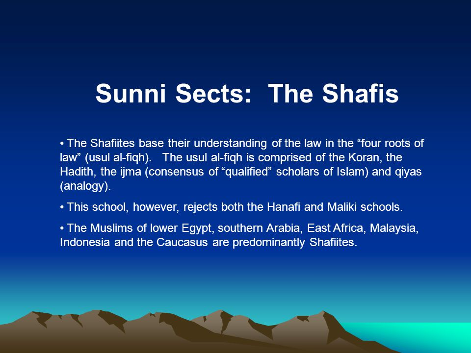 Sunni Sects: The Shafis The Shafiites base their understanding of the law in the four roots of law (usul al-fiqh).