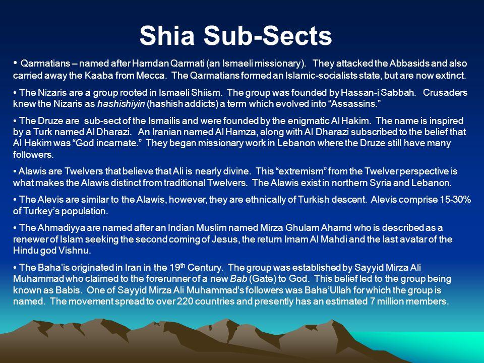 Shia Sub-Sects Qarmatians – named after Hamdan Qarmati (an Ismaeli missionary).