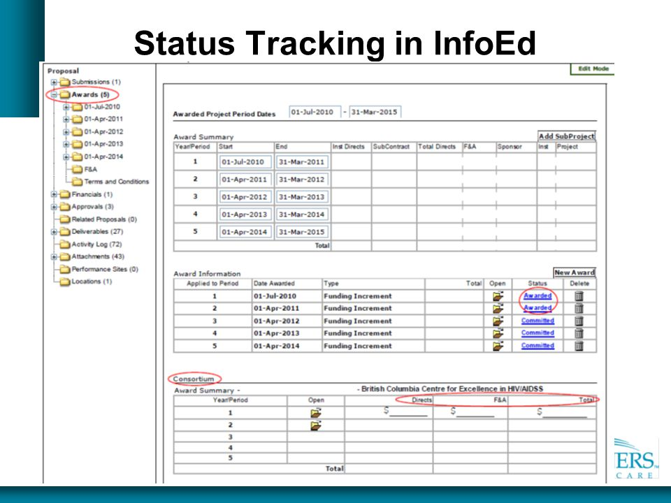 Status Tracking in InfoEd