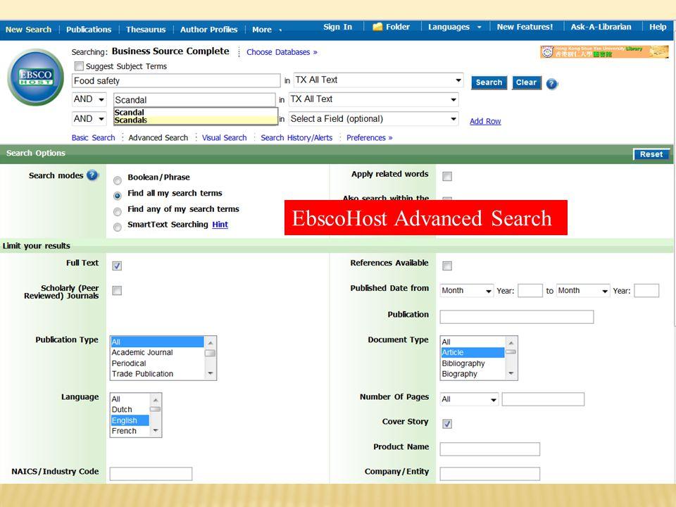ProQuest Advanced Search