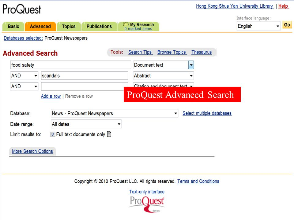 ProQuest Advanced Search