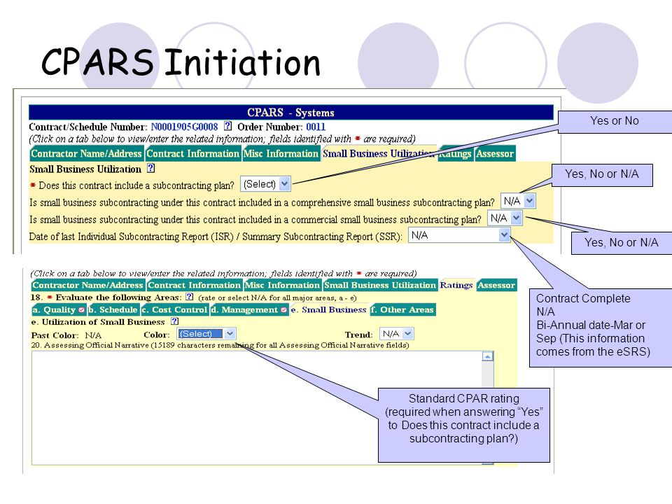 CPARS Initiation Yes or No Yes, No or N/A Contract Complete N/A Bi-Annual date-Mar or Sep (This information comes from the eSRS) Standard CPAR rating