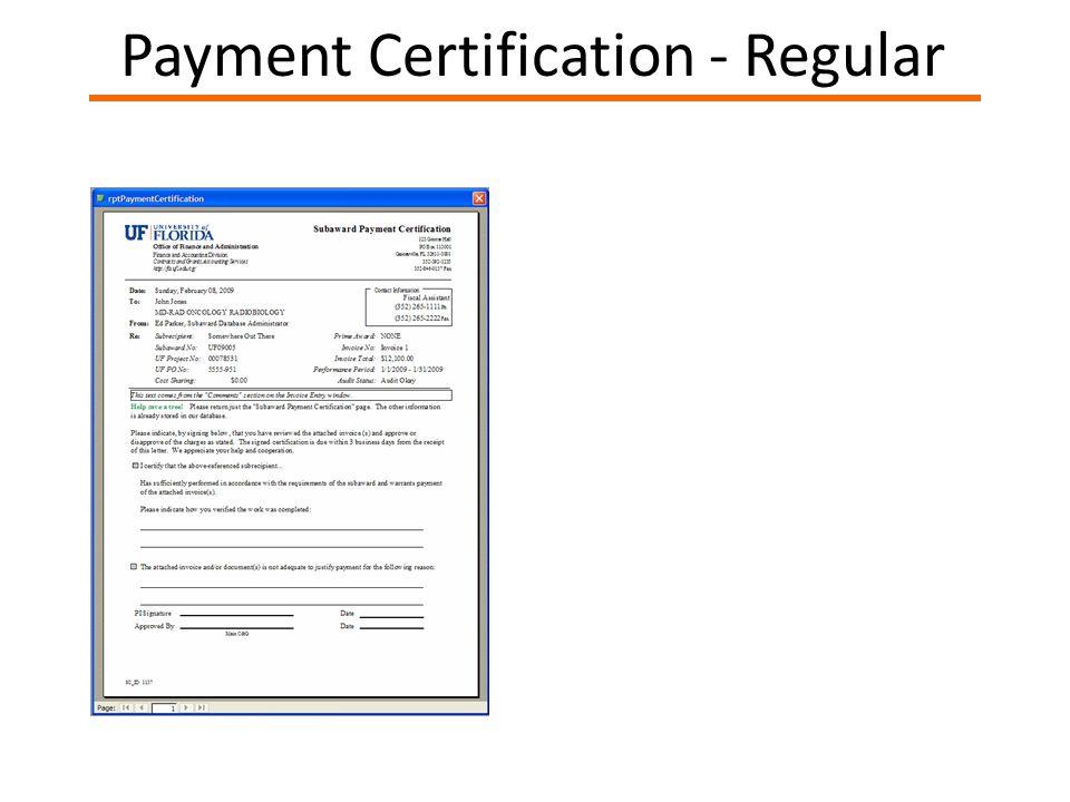 Payment Certification - Regular
