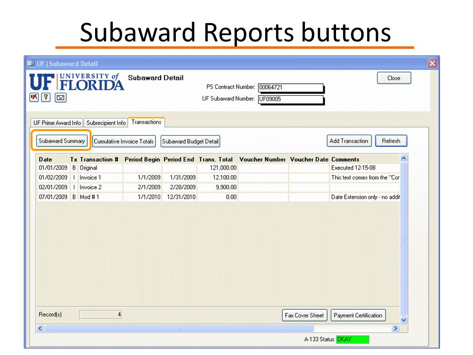 Subaward Reports buttons