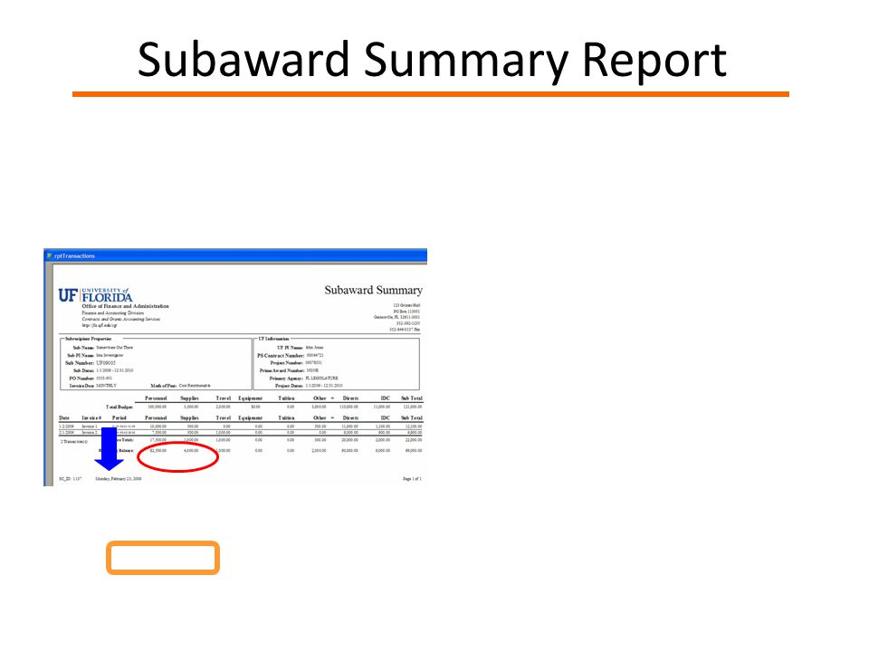 Subaward Summary Report