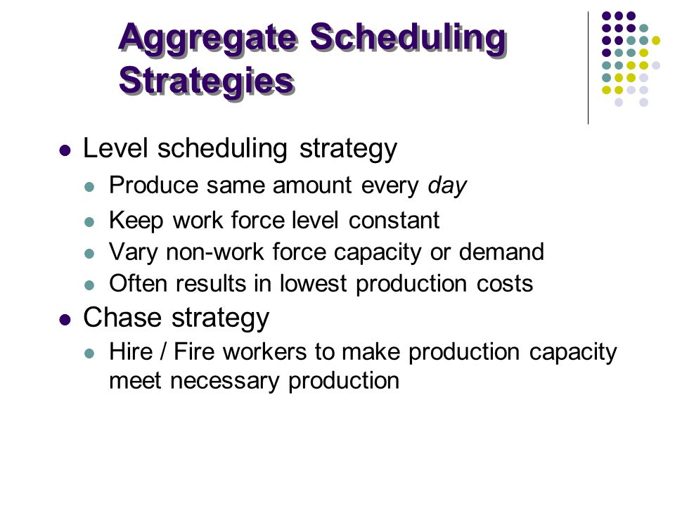 Aggregate Scheduling Strategies Level scheduling strategy Produce same amount every day Keep work force level constant Vary non-work force capacity or