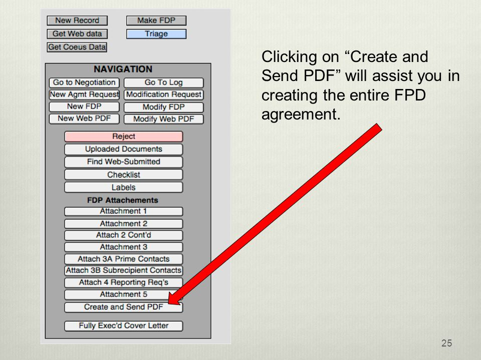 25 Clicking on Create and Send PDF will assist you in creating the entire FPD agreement.