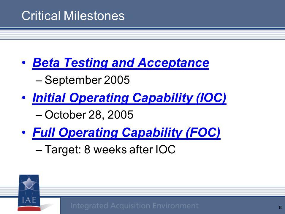 10 Critical Milestones Beta Testing and Acceptance –September 2005 Initial Operating Capability (IOC) –October 28, 2005 Full Operating Capability (FOC) –Target: 8 weeks after IOC
