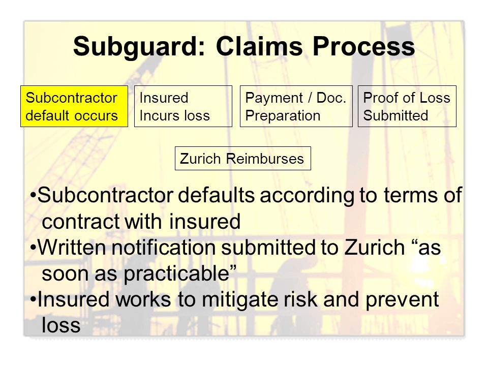 Subguard: Claims Process Subcontractor default occurs Insured Incurs loss Payment / Doc. Preparation Proof of Loss Submitted Zurich Reimburses Subcont