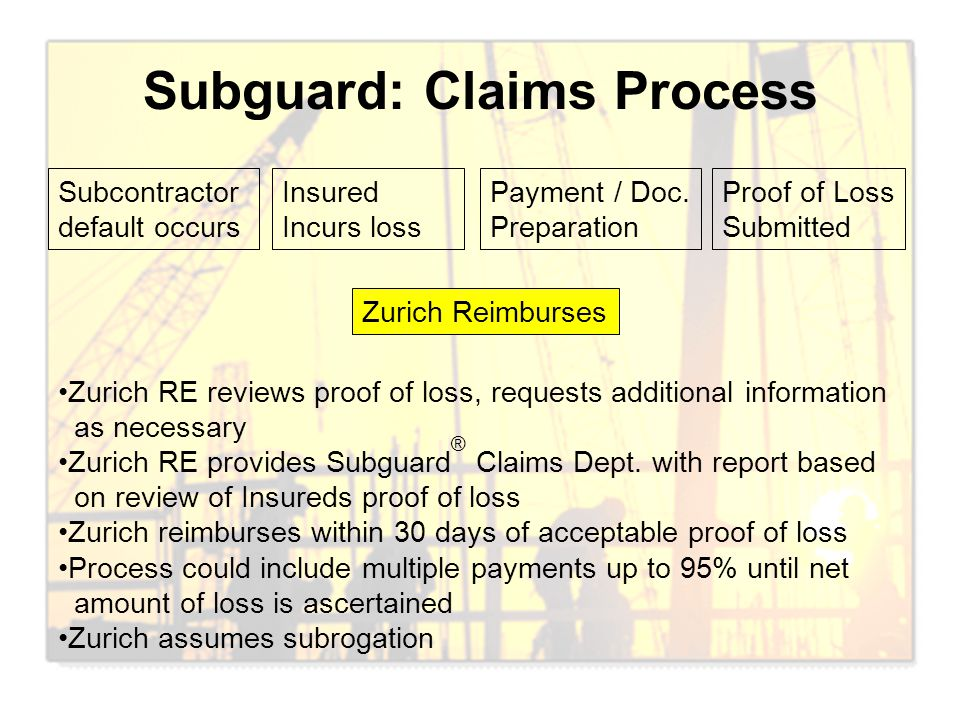 Subguard: Claims Process Subcontractor default occurs Insured Incurs loss Payment / Doc. Preparation Proof of Loss Submitted Zurich Reimburses Zurich