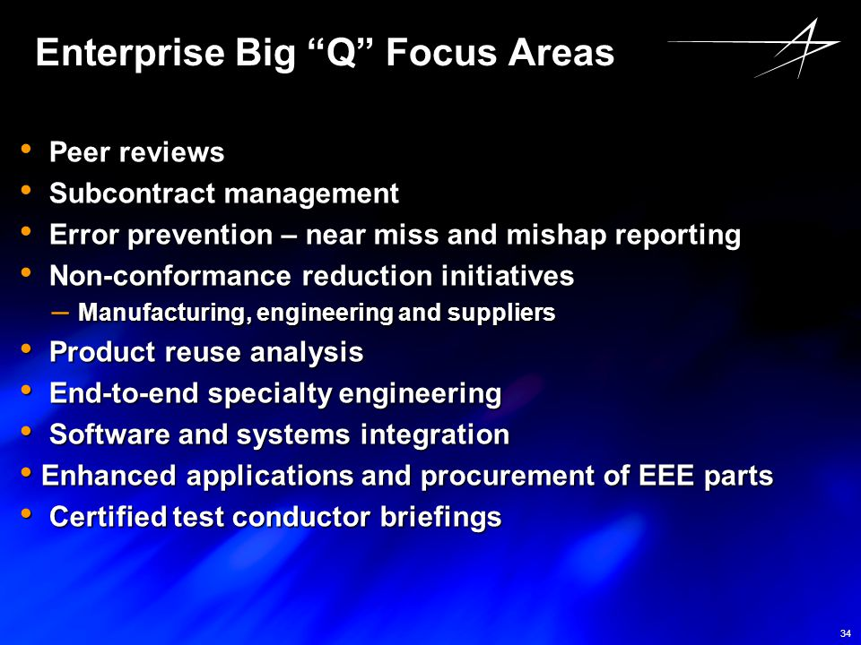 "34 Enterprise Big ""Q"" Focus Areas Peer reviews Peer reviews Subcontract management Subcontract management Error prevention – near miss and mishap repo"