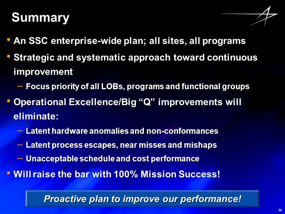 36 Summary An SSC enterprise-wide plan; all sites, all programs An SSC enterprise-wide plan; all sites, all programs Strategic and systematic approach