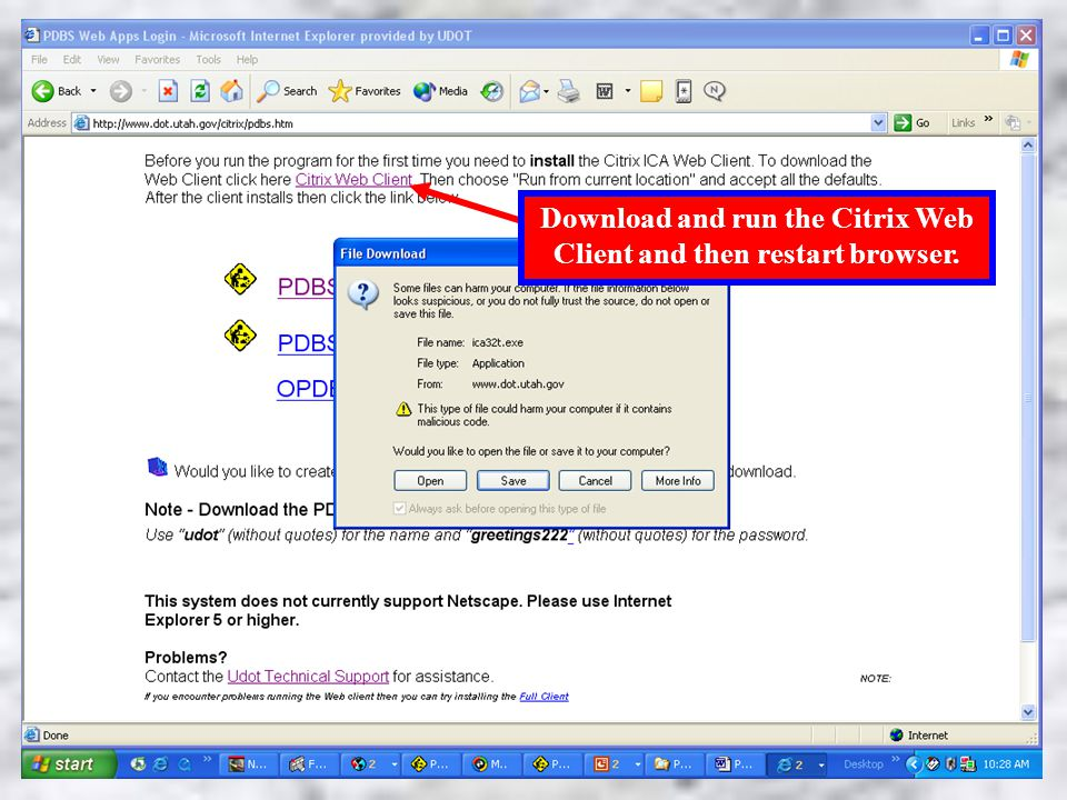 Load Citrix Web Client Download and run the Citrix Web Client and then restart browser.